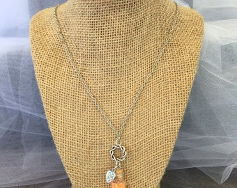 Girls orange fairy dust and heart pendant necklace