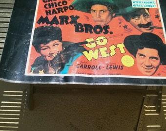 "Vintage Groucho Marx Movie Poster Print  "" Go West""  21"" x 34""  Marx Brothers Harpo Chico"
