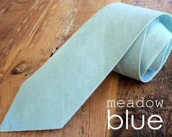 neck tie in meadow blue linen {adult}