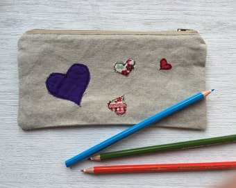 Handmade Hearts Pencil Case