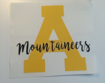 Appalachian State - App State - Mountaineers - Monogram - North Carolina -  Decal - Sticker