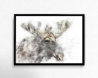 Moose Prints, wilderness printable, moose deer head, moose illustration, moose decor, deer decor, contemporary decal, animal illustration