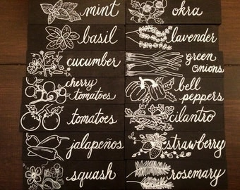 Garden Markers- Garden signs- chalkboard- herb markers- vegetable and fruit markers