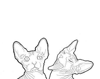 Ink and Pen - Twin Sphynx print - A4