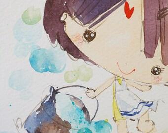 Original Watercolor PaintingSeason series-S007 (7.5 x 9.8 inches)