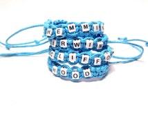 5SOS 5 Seconds of Summer Lastnames Braided Bracelet (Set of 4) - Irwin, Clifford, Hood, Hemmings