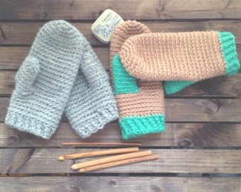 One Night Mittens PDF Crochet Pattern Chunky Mittens Easy