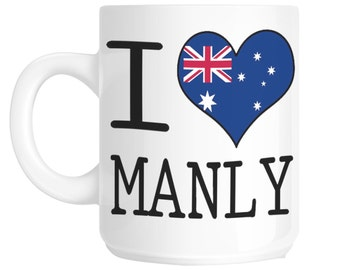 I Love Heart Manly Australia Flag Design Gift Mug shan151