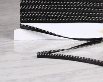 5 m Ribbon 10mm, polyurethane, black and white (0172)