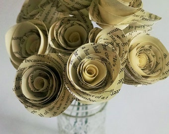 Stemmed Paper Flowers - Book Page Roses - Set of 12 - Stemmed Flower - Home or Party Decor
