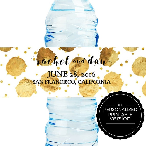 DIY Personalized Printable Wedding Water Bottle Label Gold