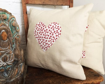 Lovely Ivory Cushion with Red / White Heart or Star Applique