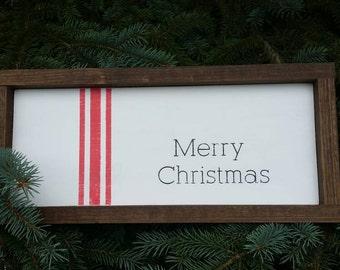 Rustic farmhouse inspired Merry Christmas grainsack stripe framed sign
