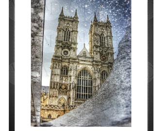 Westminster Abbey, Reflection, Puddle, London UK, Photography, Picture