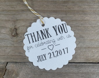 25 Thank You For Celebrating With Us - Wedding Favor Tags
