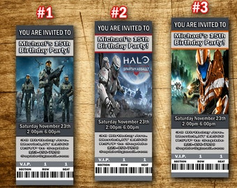 Halo Spartan Assault Invitation- Video Game Xbox Birthday Party Invitation-Halo Spartan Birthday Ticket-Halo Spartan Party