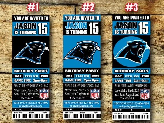 Carolina Panthers Birthday Invitation Football by ...