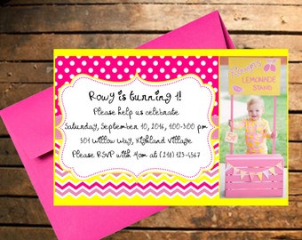 Downloadable Pink Lemonade Stand Themed Birthday Invitation with Photo