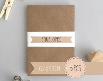 Envelope mini / kraft brown / 6,2 x 9,4 cm / 5 pieces / business card envelope / gift card envelope
