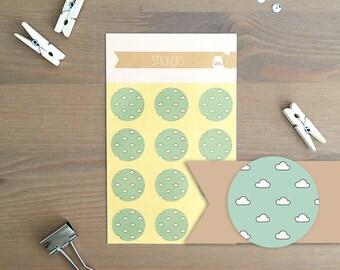 Stickers 12 pieces / Clouds (2 cm round)