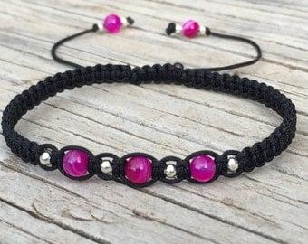 Pink Bead Bracelet, Pink Bead Anklet, Adjustable Macrame Friendship Bracelet, Beaded Bracelet, Stocking Stuffer, Boho Jewellery, Pink Bead