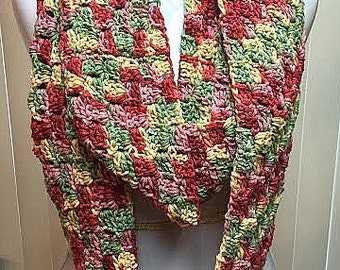Multi Color Crochet Scarf, Crochet Infinity Scarf, Fall Colors Scarf, Autumn Scarf, Green Scarf, Rust Scarf, Mauve Scarf