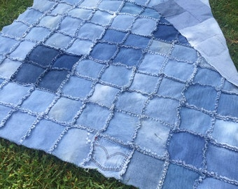 Jean quilt - 8 inch squares - no backing.  Just jeans/denim