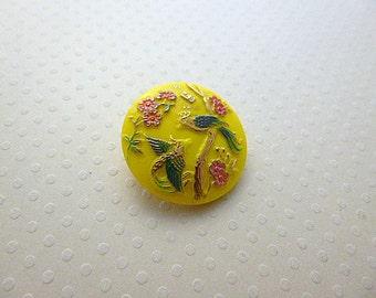 Czech glass button Birds Yellow 27mm