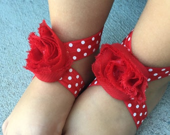 Red Baby Barefoot Sandals, Red Baby Sandals, Valentines Baby Sandals, Valentines Baby Outfit, Red Baby Girl Shoes