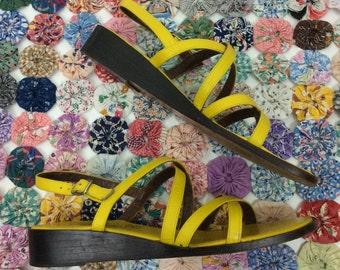 Yellow 70s Strappy Sandals by Pappagallo