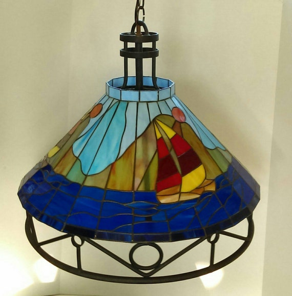 vintage tiffany style glass mosaic hanging lamp shade with sailboats. Black Bedroom Furniture Sets. Home Design Ideas