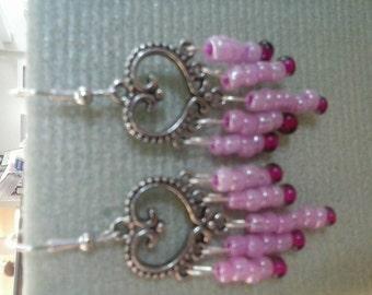 Silver Tone Heart  w/Seed Bead Earrings