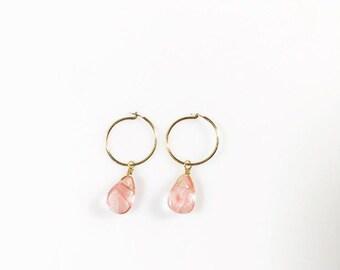 Tiny Hoop Earring/ Cherry Quartz Hoop Earring/ Tiny Gemstone Drop Hoop Earring/ Small Hoop Earring/ Silver Hoop Earring/ Gold Hoop Earring