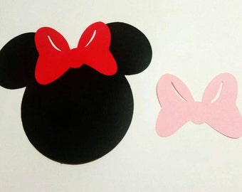 15 Minnie Mouse 5' die cuts with color bow of choice