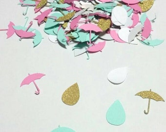 Gold Umbrella and rain drop confetti,  baby shower , bridal shower, gender reveal,  shower of love confetti CUSTOMIZE YOUR COLOR  200 pcs