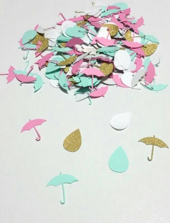 gold umbrella and rain drop confetti baby shower bridal shower gender reveal shower of love confetti customize your color 200 pcs