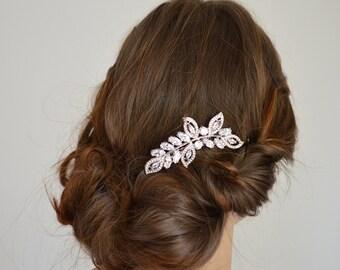 Silver Leaf Wedding Comb, Crystal Wedding Comb, Leaf Hair Comb, Crystal Leaf Bridal Comb, Wedding Hair Comb