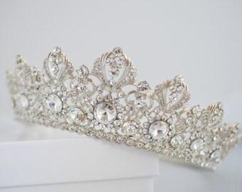 Full Bridal Crown, Crystal Wedding Tiara, Swarovski Crystal Wedding Crown, Silver Bridal Diadem, Diamante Tiara, Bridal Tiara, Ref ANNABELLE
