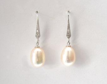 Freshwater Pearl Earrings, Natural Pearl Earrings, Wedding Pearl Earrings, Silver Pearl Earrings, Cultured Pearl Earrings for Wedding