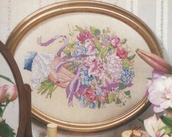 Vintage Victorian Bouquet Cross X-Stitch Stitch Chart Pattern Needle