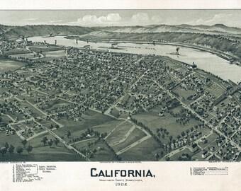 1902 Aerial Map of California Washington County Pa