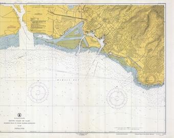 1950 Nautical Map of Pearl Harbor Entrance Hawaii