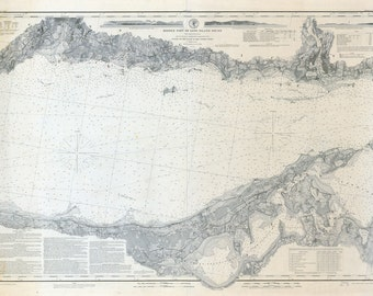 1878 Nautical Map of Long Island Sound Middle Part New York
