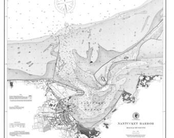 1889 Nautical Chart of Nantucket Harbor