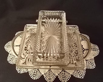 Vintage Three-Tier Crystal and Silverplate Serving Tray