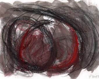 Abstract Art Print - mixed media, black, red