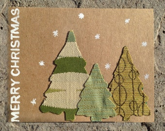 Hand painted Merry Christmas Holiday Card with Fabric, Christmas Trees in the Snow