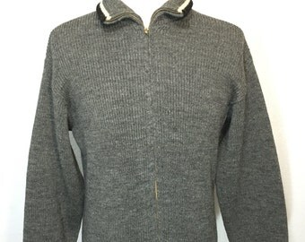 50's vintage 100% wool zip up sweater cardigan gray size large