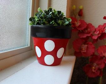 Minnie Mouse Themed Terra Cotta Flower Pot