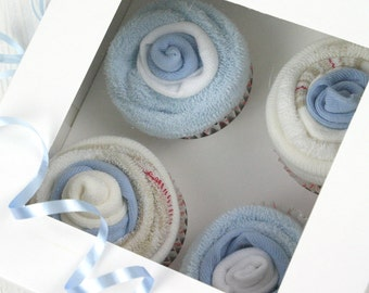 Blue baby sock cup cakes